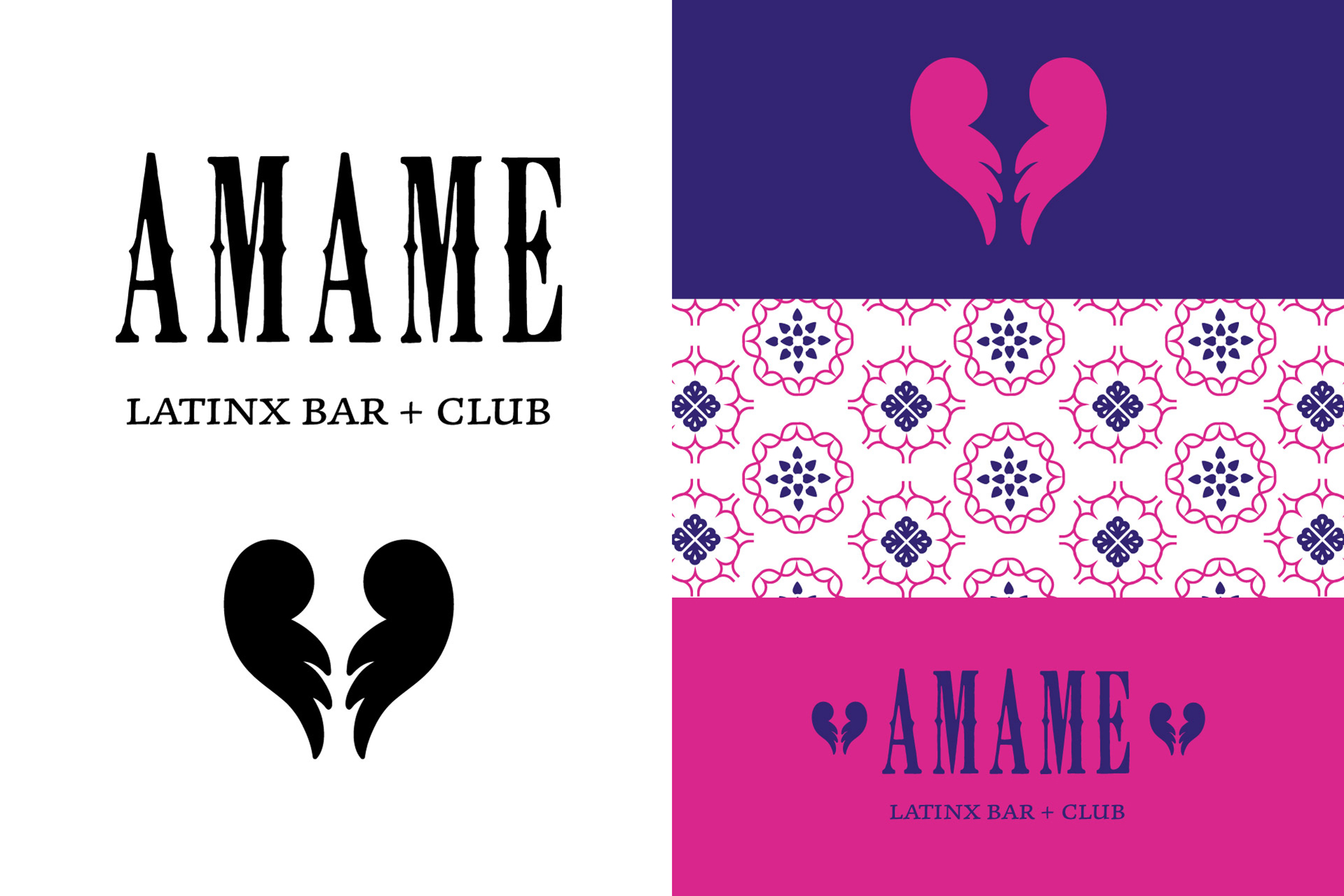 Various Amame logo uses and pattern