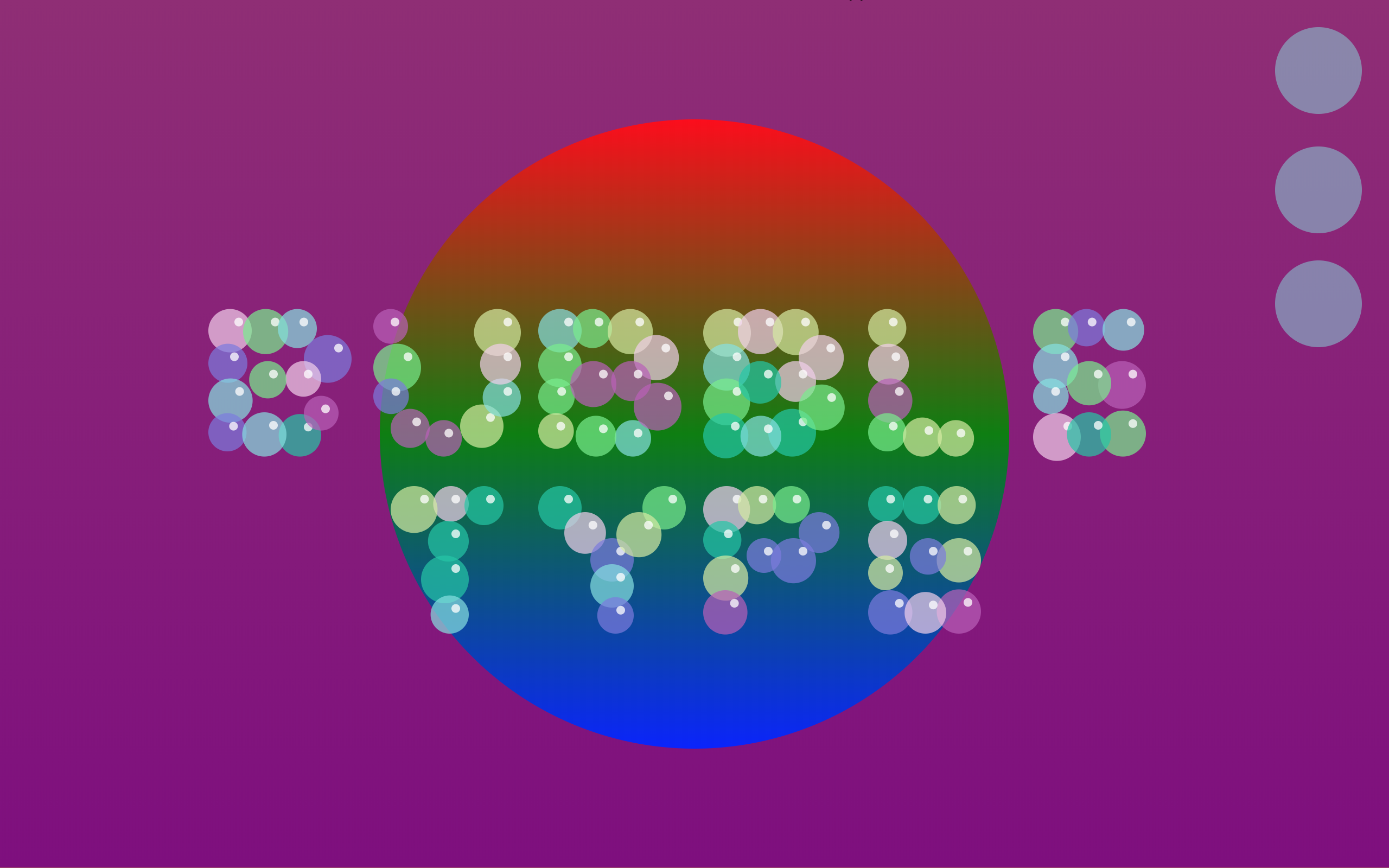 Bubble Type on gradient and purple background